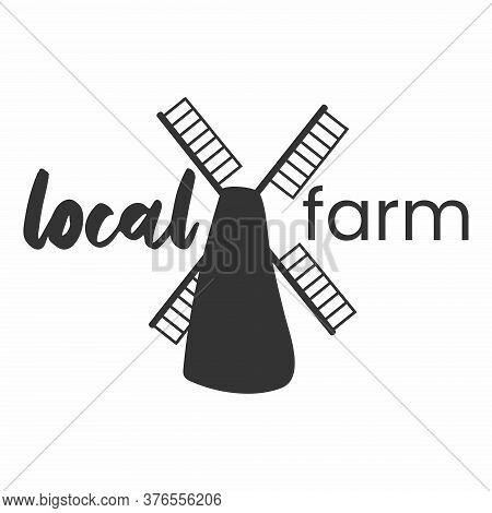 Local Farm Logo. Farm Food Simple Stamp. Typographic Eco Farm Insignia In Monochrome Style. Simbol W
