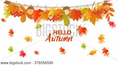 Autumn Fall Leaves And Harvest Hang On A Rope In Paper Cut Style. Vector 3d Border With Orange, Gree