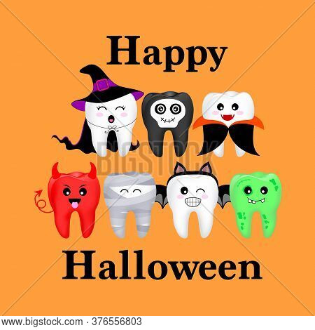 Cartoon Spooky Tooth In Halloween Costumes. Trick Or Treat, Happy Halloween Concept. Illustration Is