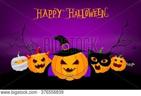 Funny Cute Cartoon Pumpkin Character. Witch, Bat And Mummy, Devil And Blaclk Cat. Trick Or Treat, Ha