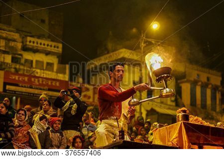 Varanasi, India - Dec 25, 2019: Ganga Aarti On The Dashashwamedh Ghat At Varanasi Uttar Pradesh Indi