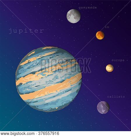 Jupiter And Four Satellites View From Space Vector Illustration For Education Training Manuals Textb