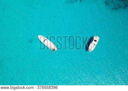 Croatia, Dugi Otok. Scenic Blue Lagoon With Anchored Yachts, Overhead View Of Sea Paradise