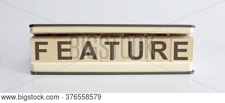 Text Feature Written On Wooden Building Blocks On White Background. Business Concept.