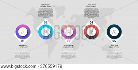 Infographics With 5 Circles And Arrows. Modern Vector Template. Can Be Used For Five Banner, Workflo