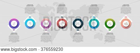 Infographics With 8 Circles And Arrows. Modern Vector Template. Can Be Used For Eight Diagrams, Busi