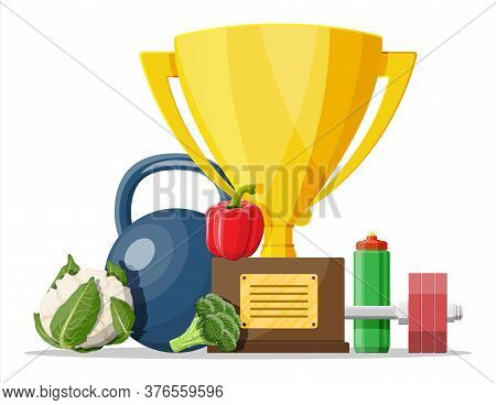 Trophy Cup Award With Dumbbell Weight, Vegetables And Sport Bottle Of Water. Fitness Goals Concept.