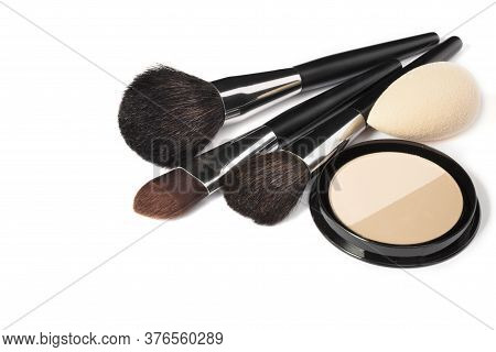 Loose Powder, Various Makeup Brushes. Makeup Artist Accessories Isolated On White Background. Produc