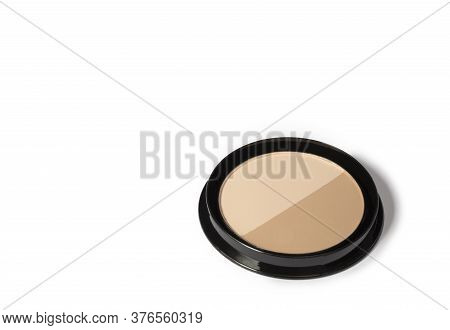 Loose Powder For Face Isolated On A White Background. Cosmetic Basis For The Face. Toning Cosmetic P