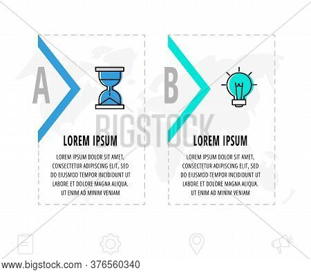 Infographics Arrows With Two Arrows And Icons. Line Vector Template. Can Be Used For Diagram, Busine
