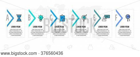 Infographics Arrows With Six Arrows And Icons. Line Vector Template. Can Be Used For Diagram, Banner