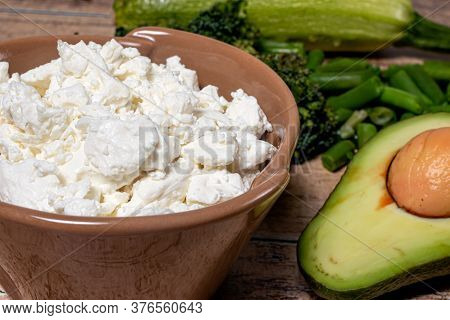 Cottage Cheese And Ripe Avocado - Proper Nutrition And Benefits For The Body. Ingredients For Keto D