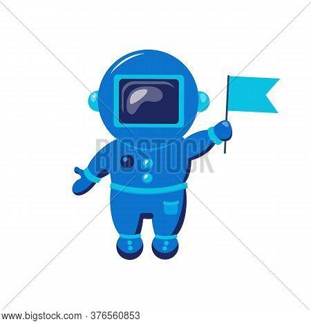 Cute Spaceman. Funny Cosmonaut. Vector Flat Illustration.