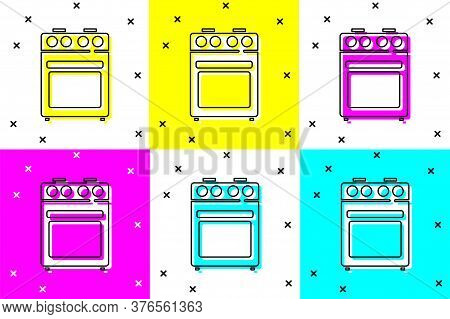 Set Oven Icon Isolated On Color Background. Stove Gas Oven Sign. Vector