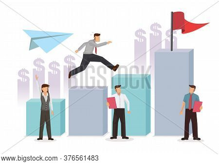 Business People Run To Their Goal On The Column Up The Path To The Target's Achievement. Concept Of