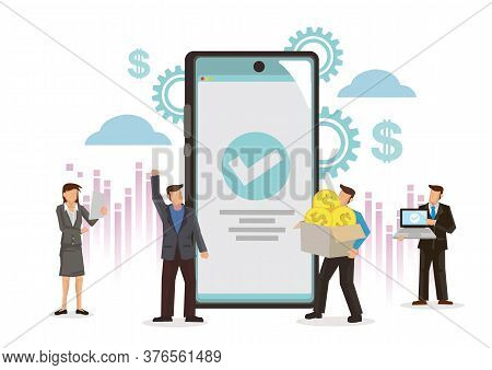 Business People With A Giant Smartphone With A Approved Tick. Concept Of Financial Transactions, Non