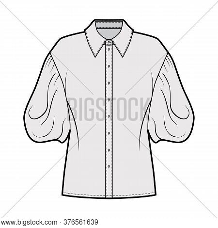 Shirt Technical Fashion Illustration With Elbow Puff Sleeves, Oversized Body, Front Button Fastening