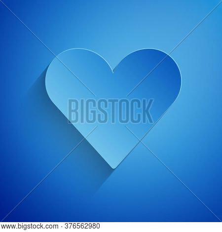 Paper Cut Heart Icon Isolated On Blue Background. Romantic Symbol Linked, Join, Passion And Wedding.