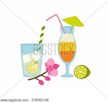 Refreshing Summer Cocktails With Straws Vector Flat Illustration. Cold Beverages In Glass Decorated