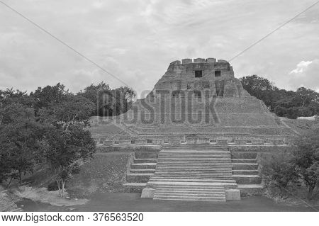 Historic Ancient City Ruins Of Xunantunich Archaeological Reserve In Belize. Black And White