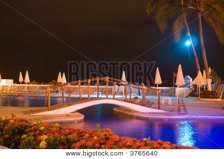 Swimming Pool In Dramatic Night Light
