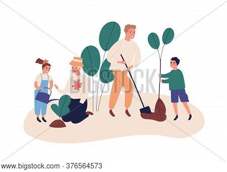 Grandmother With Grandchildren Plant A Garden. Save Ecology Concept, Environment Help. Family Dig, P