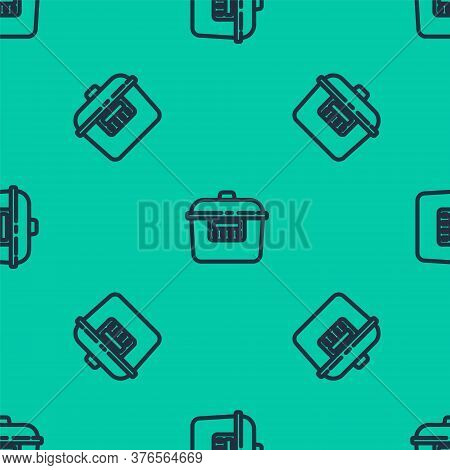 Blue Line Slow Cooker Icon Isolated Seamless Pattern On Green Background. Electric Pan. Vector
