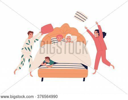 Happy Grandchildren Play, Do Pillow Fighting In Grandparents Bedroom. Children With Relatives Dresse