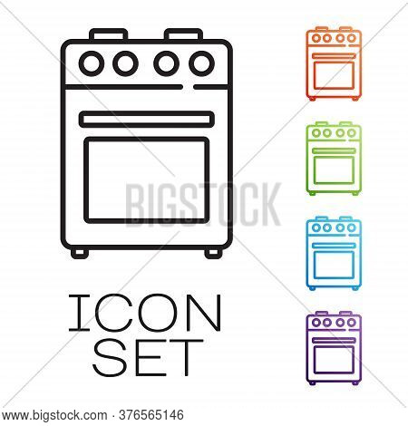 Black Line Oven Icon Isolated On White Background. Stove Gas Oven Sign. Set Icons Colorful. Vector