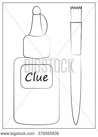 Vector Silhouette Glue And Brush Icon. Outline Vector Illustration Of Bottle With Glue And Brush For