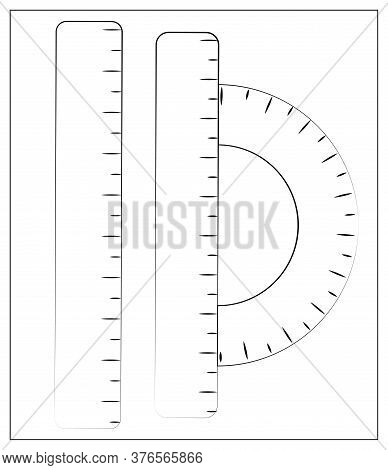 Vector Silhouette Ruler Instruments Icon. Outline Vector Illustration Of Straight Ruler And Protract