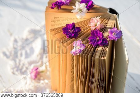 Violet Flowers On A Book. Openwork Knitted Tablecloth On A Wooden Old Table. Evening In The Village.