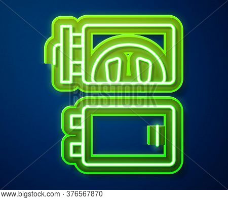 Glowing Neon Line Crematorium Icon Isolated On Blue Background. Vector