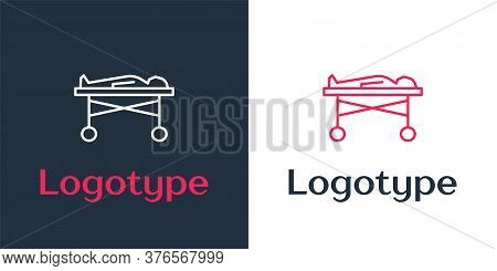 Logotype Line Dead Body In The Morgue Icon Isolated On White Background. Logo Design Template Elemen