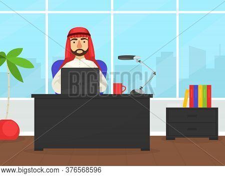 Arab Businessman Sitting At Office Desk Working Laptop Computer, Arabic Office Worker Character Wear