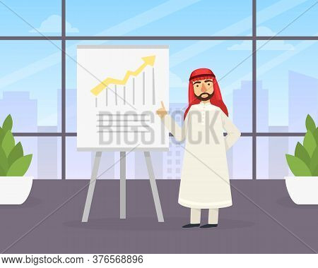 Arab Businessman Making Presentation Explaining Charts On White Board, Arabic Office Worker Characte