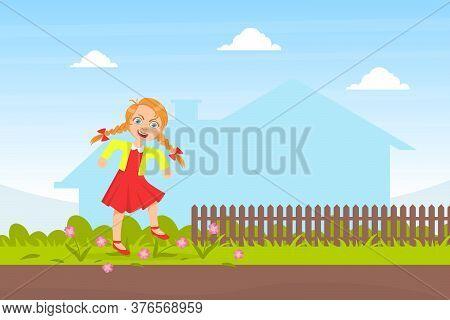 Bully Girl Treading Down Flowers In Meadow, Kids Aggressive Behavior Cartoon Vector Illustration
