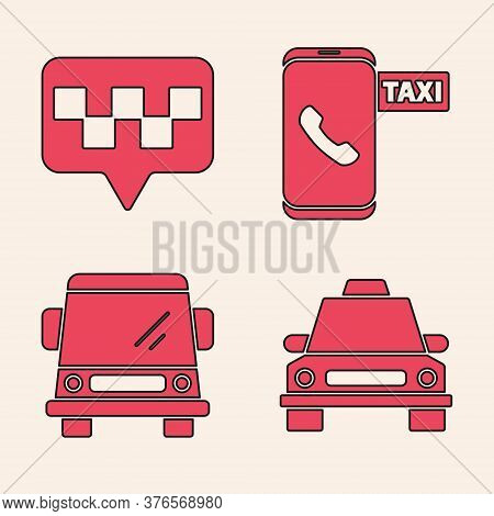 Set Taxi Car, Map Pointer With Taxi, Taxi Call Telephone Service And Car Icon. Vector
