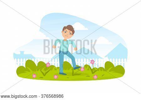 Bully Boy Treading Down Flowers In Meadow, Kids Aggressive Behavior Cartoon Vector Illustration