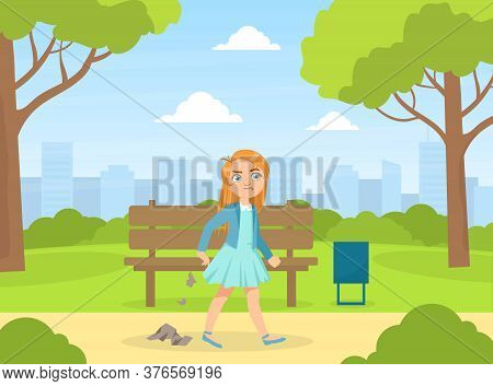 Bully Girl Littering In The Park, Kids Aggressive Uncontrollable Behavior Cartoon Vector Illustratio