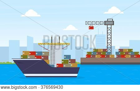 Cargo Ship Container And Working Crane, Maritime Shipping Freight Transportation, Cargo Logistics Fl