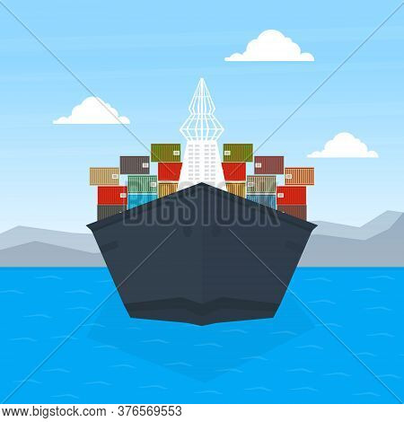 Front View Of Cargo Ship Container, Maritime Shipping Freight Transportation, Cargo Logistics Flat V
