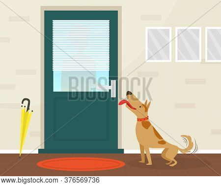 Cute Happy Dog Meeting Its Owner At The Door Flat Vector Illustration