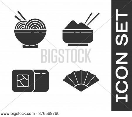 Set Paper Chinese Or Japanese Folding Fan, Asian Noodles In Bowl And Chopsticks, Sushi And Rice In A