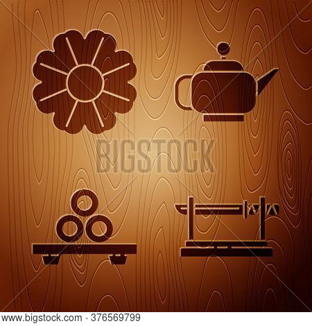 Set Traditional Japanese Katana, Flower, Sushi On Cutting Board And Japanese Tea Ceremony On Wooden