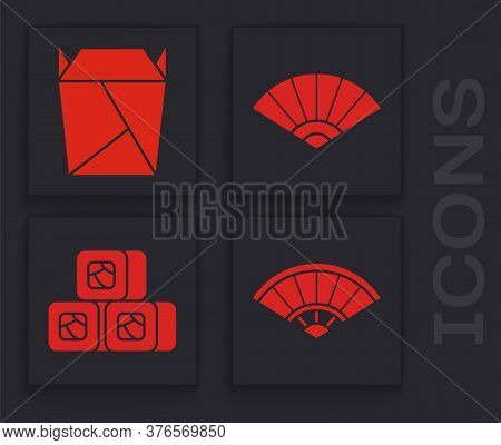 Set Paper Chinese Or Japanese Folding Fan, Rstaurant Opened Take Out Box Filled, Paper Chinese Or Ja