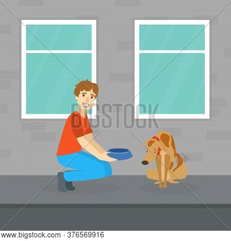 Smiling Man Feeding Homeless Dog On The Street Flat Vector Illustration