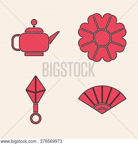 Set Paper Chinese Or Japanese Folding Fan, Japanese Tea Ceremony, Flower And Japanese Ninja Shuriken