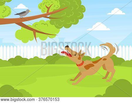Dog Barking At Bird In Summer Park On Beautiful Summer Landscape Flat Vector Illustration