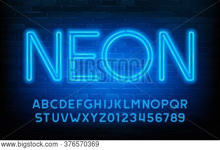 Neon Alphabet Font. Blue Neon Light Letters And Numbers. Shaded Brick Wall Background. Stock Vector